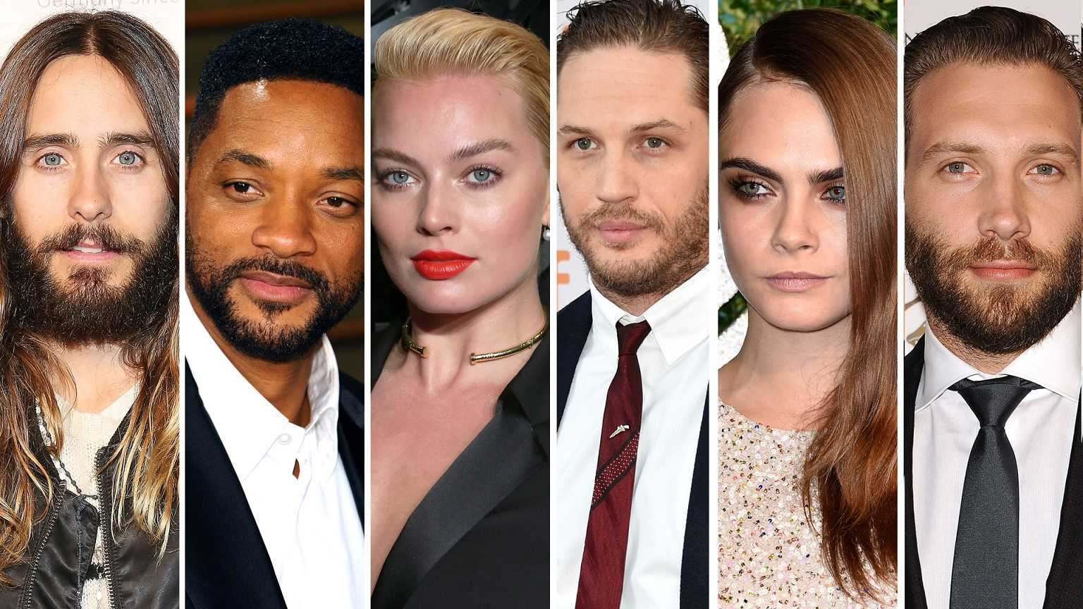 PLAYING AN ANTIHERO: (From left) The cast of Suicide Squad is pictured above: Jared Leto (the Joker), Will Smith (Deadshot), Margot Robbie (Harley Quinn), Joel Kinnaman (Rick Flag), Cara Delevingne (Enchantress), and Jai Courtney (Captain Boomerang). This strong cast of talented actors and actresses were clearly the one of the strongest aspects of the film. They were able to rise above their costuming and makeup and show all aspects of their character through their acting. Source: Variety.com