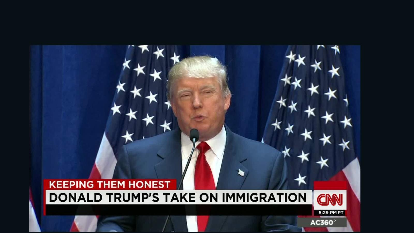 Trump speaks on CNN about his stance on immigration. Source: CNN