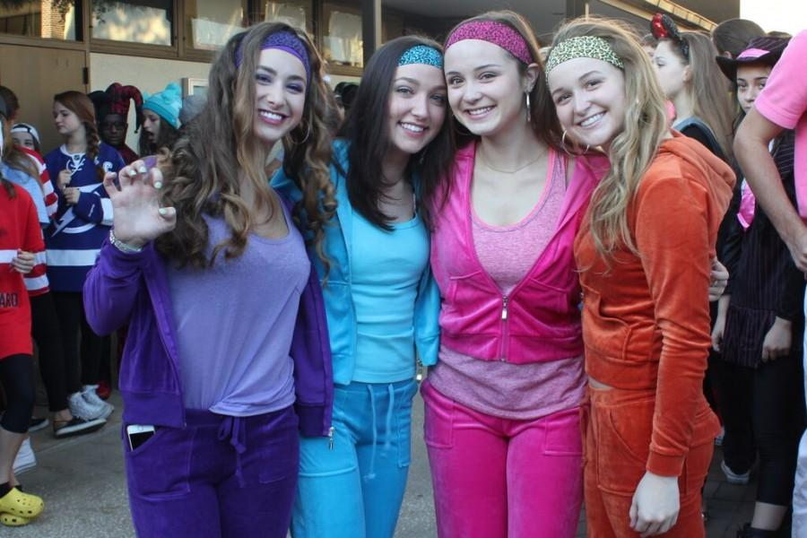 Seniors Rachel Slakter, Kendall Caputo, Olivia Hoffman, and Laura Towell dressed up as the Cheetah Girls.