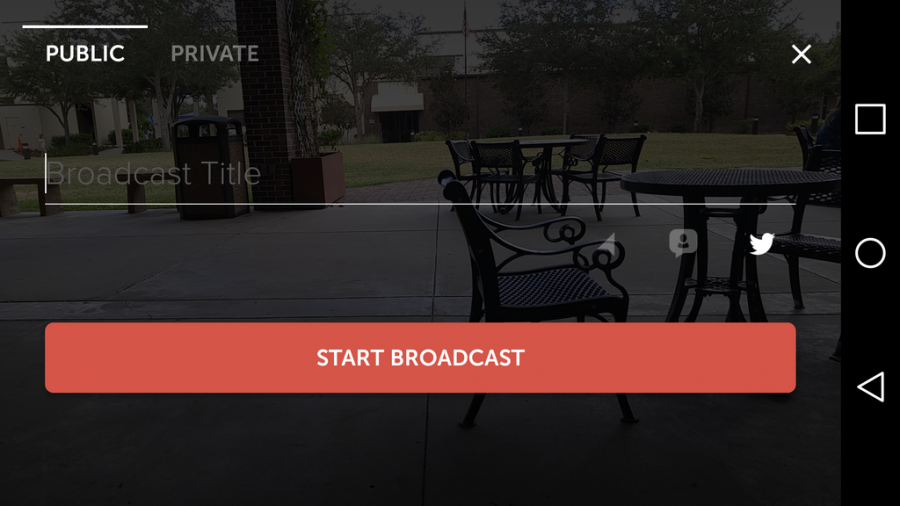 This is the interface to start a live stream on Periscope. You can make a stream public or private and title it. You can also pick if it tweets a link to it, shares your location and who can chat (followers or anyone). Once you have done that you can start the broadcast.