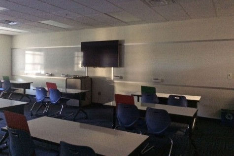 No clocks can be found in this classroom in the Gries.