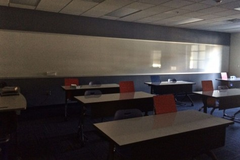 Due to the shortage of clocks, as seen in this empty classroom, many students have trouble figuring out the time.