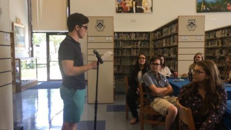 Nick Diaco '16 reads a farewell address modeled after Ronald Reagan's farewell address.