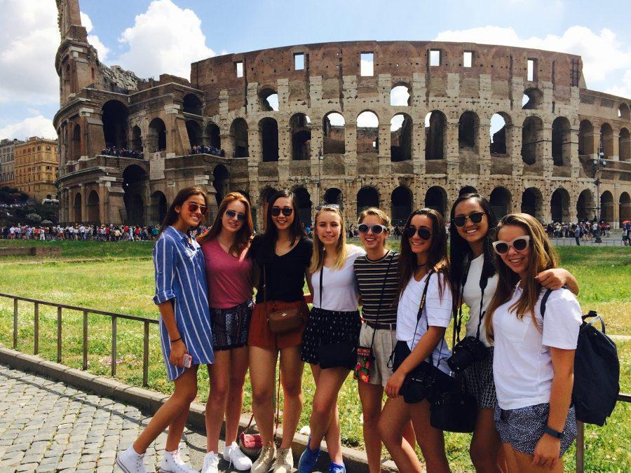 COLISEUMS AND MUSEUMS:  Along with visiting different museums, these girls, class of 2019, were able to visit some of the most famous sights of Rome, including the Coliseum.  From left to right: Sabrina Vergara, Bailie Schock, Melinda Lu, Aimee Laxer, Emily-Elizabeth Grams, Lauren Tresser, Adair Nguyen and Juliette Saylor. Photo from Emily-Elizabeth Grams