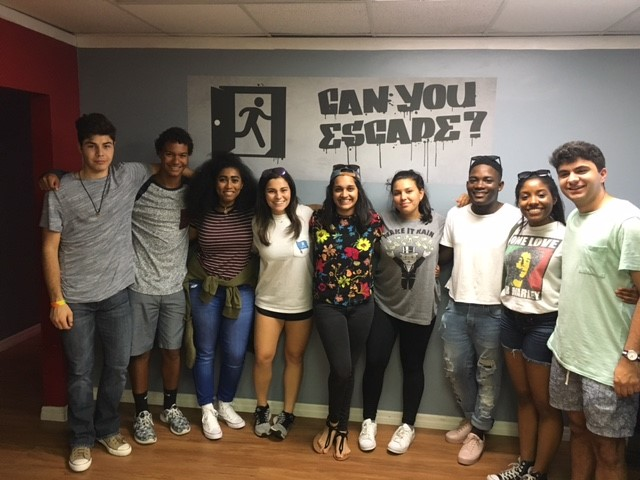 TEAMWORK: The Diversity Programming Team works together to solve an escape room. Pictured above is Tristan Facenda-Kerswill '17, Peter Tanner '19, Mikae Provine '19, Alexa Rudolph '17, Shaila Ghanekar '17, Bella Diaco '18, Dylan Davis '18, Dylan Davis '18 and Theo Vasiloudes '17. The escape room has recently taken off as a way for teams and organizations to learn to work together in high stress situations.