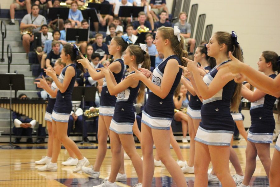 MD CHEERLEADERS DANCE US INTO A GREAT WEEKEND: Their audience sat captivated, as the Middle Division Cheerleaders performed classic BPS cheers with spirit and grace. The girls punctuated their dance routine with flawless stunts, preparing the Armada for a cheerful weekend.
