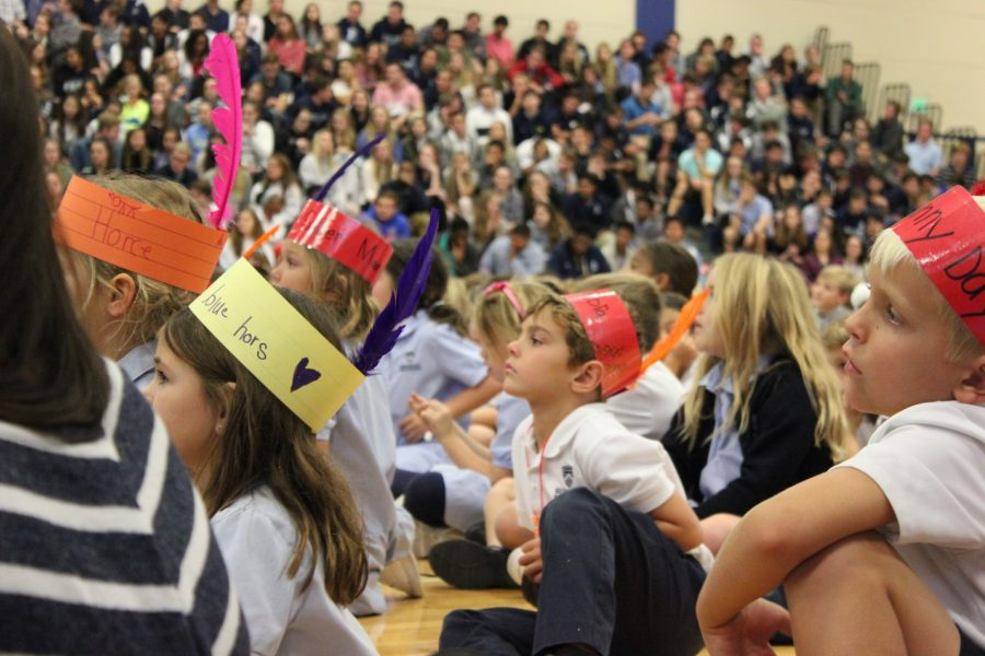 FEATHERED THANKSGIVING: Lower Division students made their own versions of Native American headdresses for the all-school convocation.