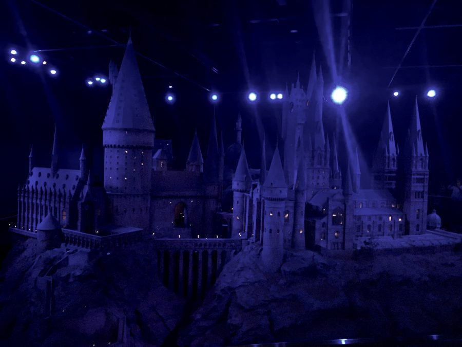 NIGHTTIME IN ENGLAND: At night, Hogwarts looks blue in the moonlight. It's not that scary, unless you want to go into the Forbidden Forest. Most students just stick to the Restricted Section of the library.