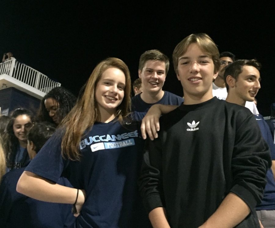 """ONCE A BUC, ALWAYS A BUC: Will Jones, a former British Exchange student shadowing sophomore Jack Touchton, visited Berkeley for one of its most exciting nights: the Homecoming Game! Will, pictured on the right, had not been to the United States before his """"trip of a lifetime"""". He returned to Brighton, England Saturday morning."""