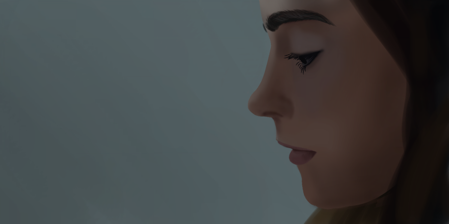 """PENSIVE: Artist Alicia Rose '18, NAHS president, digital drawing of a woman, titled """"Pensive""""."""