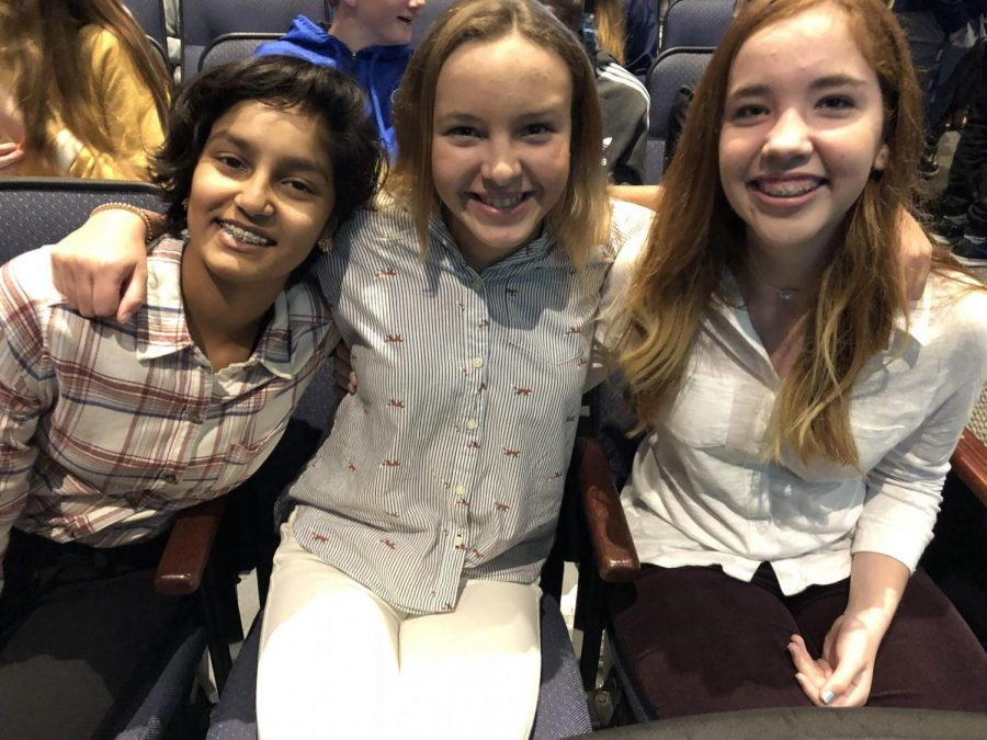 COLLARED SHIRTS AND COLORED PANTS: Skylar Baria '22, Lily Paggio '22 and Sutton Johnson '22, happy to be out of uniform, smile before Upper Division convo.