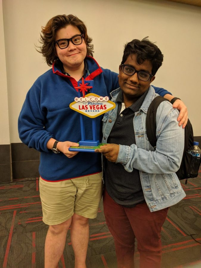 VICTORY IN VEGAS: At the University of Nevada, Krishna Menon '19 won the fifth place Speaker Award and made it to finals. Here, he is joined by fellow debater, Michael Hellie, who lives in Chicago.