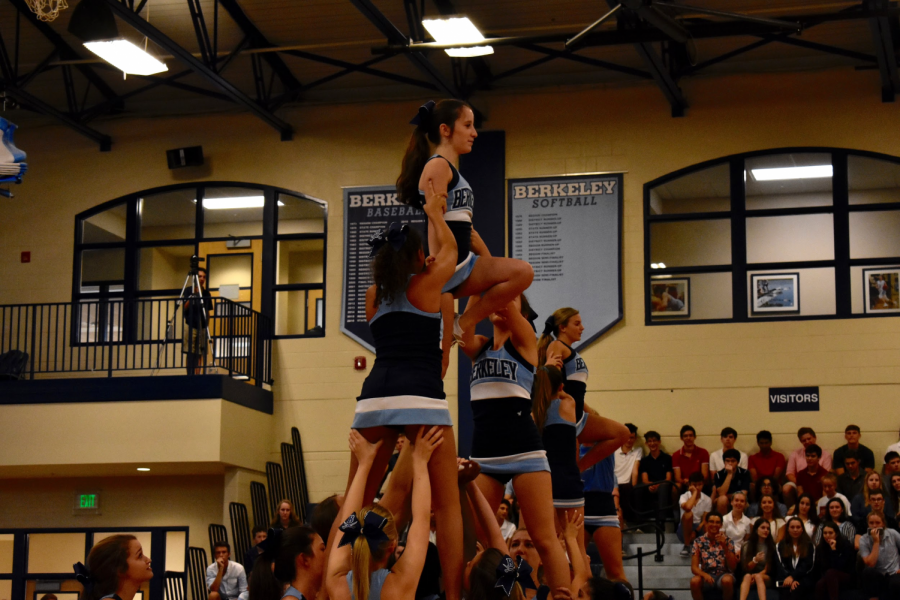 FANTASTIC FLYERS: Kenzie Azeman '21 (left) and Ally Stoyan '21 (right) get ready to flip in the cheerleaders' first All-school Convo performance.