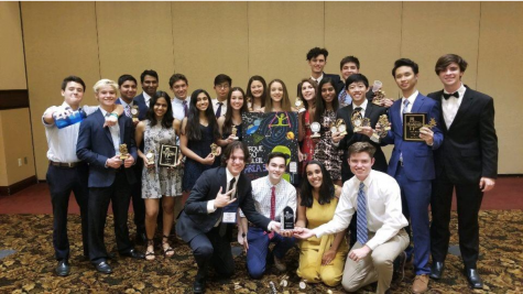ONE HEARTBEAT: The Berkeley Math Club poses with trophies galore after the final awards ceremony at the Mu Alpha Theta National Convention in Las Vegas, Nevada.