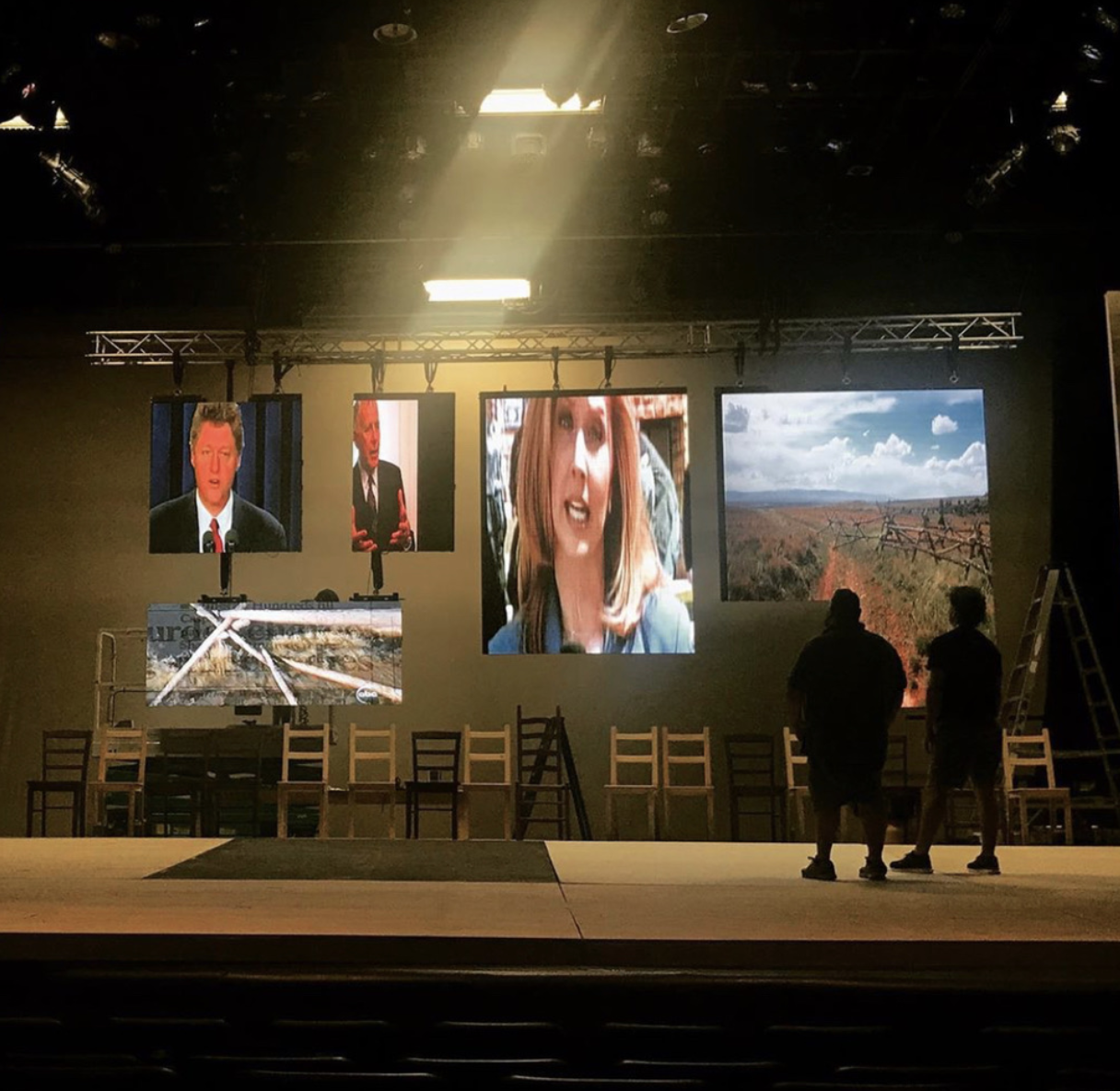 A NEWS SENSATION: The set depicted the true spirit of the play, putting the media on a literal platform. Photo by Mr. Marshall