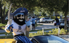 LEADING THE PACK: Bucky the Buccaneer leads the fleet of graduating Seniors at Berkeley's Senior Clap-Out.