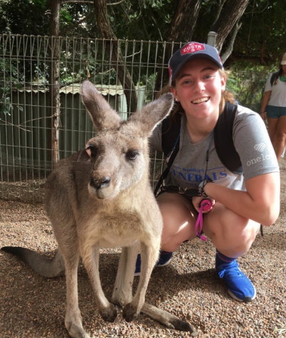 LAND DOWN UNDER: Passaro on her study abroad to Australia where she pursued Biology and made new friends, including this kangaroo. Photo from Leeann Passaro