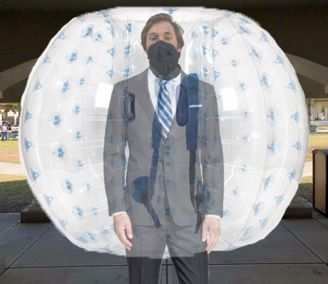 INFLATED FIT: Tate Allen '21 shows off his COVID-safe Prom outfit on the Hellenic Quad, the stage for the Senior's last and only Prom. Photo Credit: Samir Saeed '21