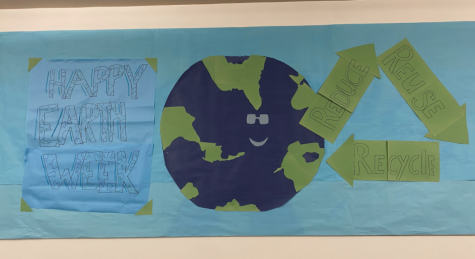 FUN WITH EARTH: The Environmental Club comes together after school to create a wonderful and cute banner for Earth Week. (Image from Rachel Mintz '21)