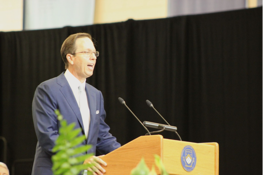 WORDS OF ADVICE: Tripp Crouch '86 gives his advice and thanks to the 2021 graduating class.