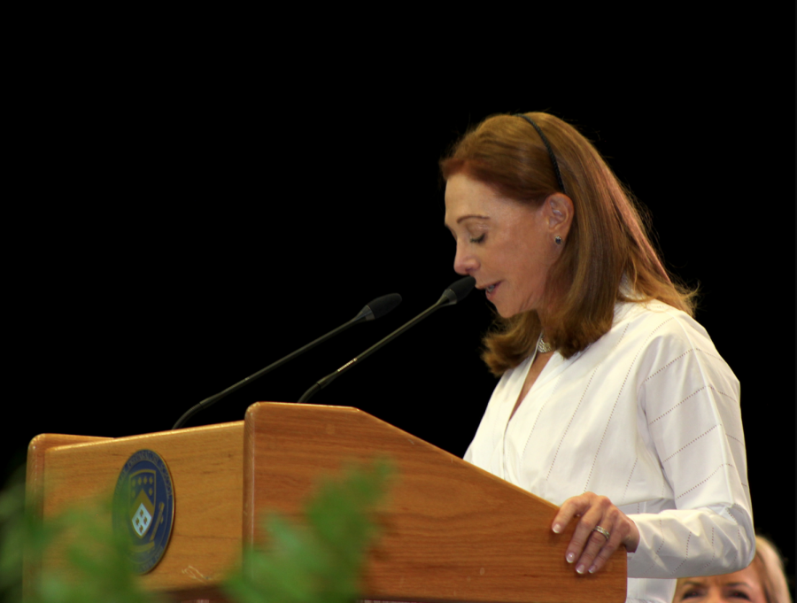 """A WORD OF ADVICE: Alumni Tamara L. Lundgren '74 shares her favorite quote with the class of 2021, stating, """"failing in life is inevitable, staying down is optional."""""""